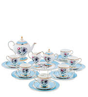 """Чайный сервиз на 6 персон """"Цветок Неаполя"""" (Fiore Napoli Pavone) из костяного фарфора 22 пр-та"""