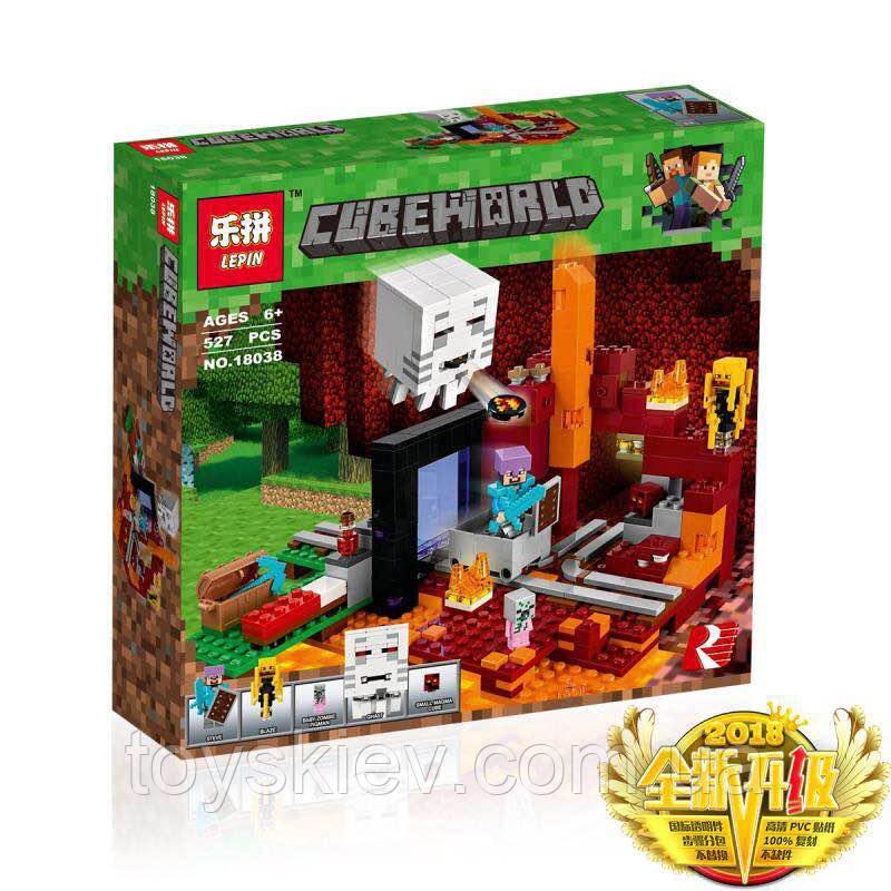"""Конструктор Minecraft Майнкрафт """"Портал в нижний мир"""", 527 деталей, 18038"""