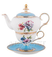 "Чайный набор ""Цветок Неаполя"" (Fiore Napoli Pavone) из костяного фарфора"