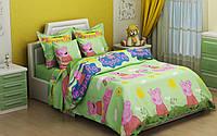 Полуторный детский комплект (1.0) постельного белья 145х215 из бязи «Свинка Пеппа»