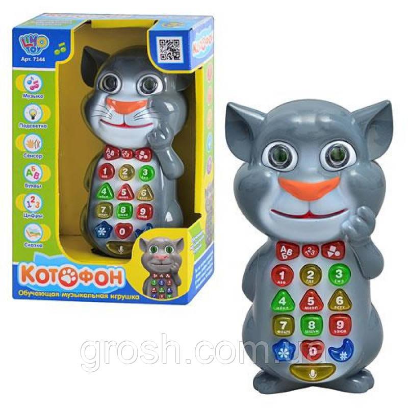 Умный телефон кот Том, обучающий, муз, свет