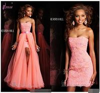 Кружевное Розовое Свадебное платье со съемной юбкой.