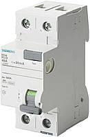 Дифференциальное реле (УЗО) Siemens тип AC, 25A, 30 mA, 2P, 230V (5SV4312-0)