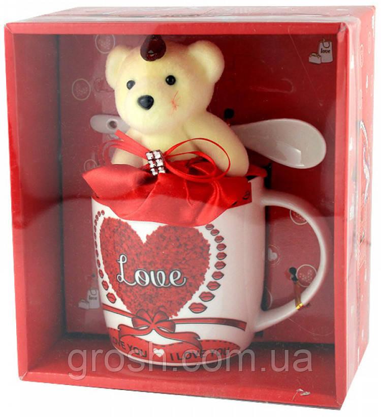 Подарочный набор - керамическая чашка, ложечка и медвежонок