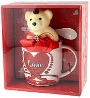 Подарочный набор - керамическая чашка, ложечка и медвежонок, фото 1