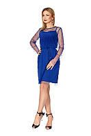 Синее платье-сетка с жемчугом, фото 1