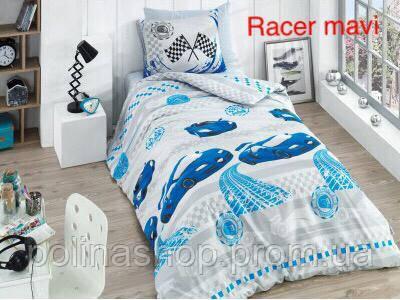 """Детский комплект постельного белья ALTINBASAK """"Racer mavi!"""" Полуторный"""