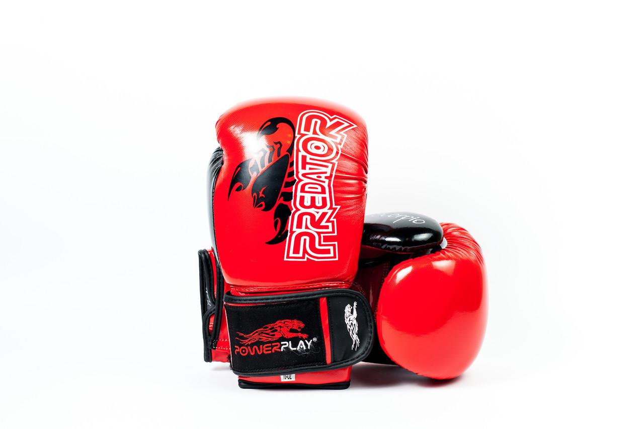 Боксерские перчатки PowerPlay 3007 красные карбон 16 унций