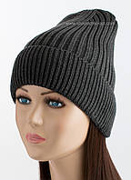 Удлиненная вязаная шапка Luis Flip Uni темно-серая