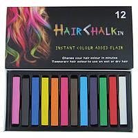 Мелки разноцветные для волос, мел для волос 12 цветов детская косметика