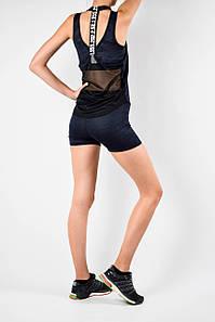 Женский спортивный комплект шорты,топ и майка синий эластан/камуфляж
