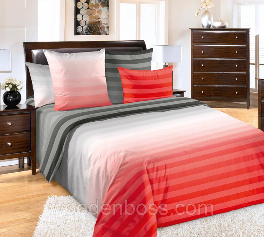 """Комплект постельного белья """"Туманное утро, красный"""", перкаль"""