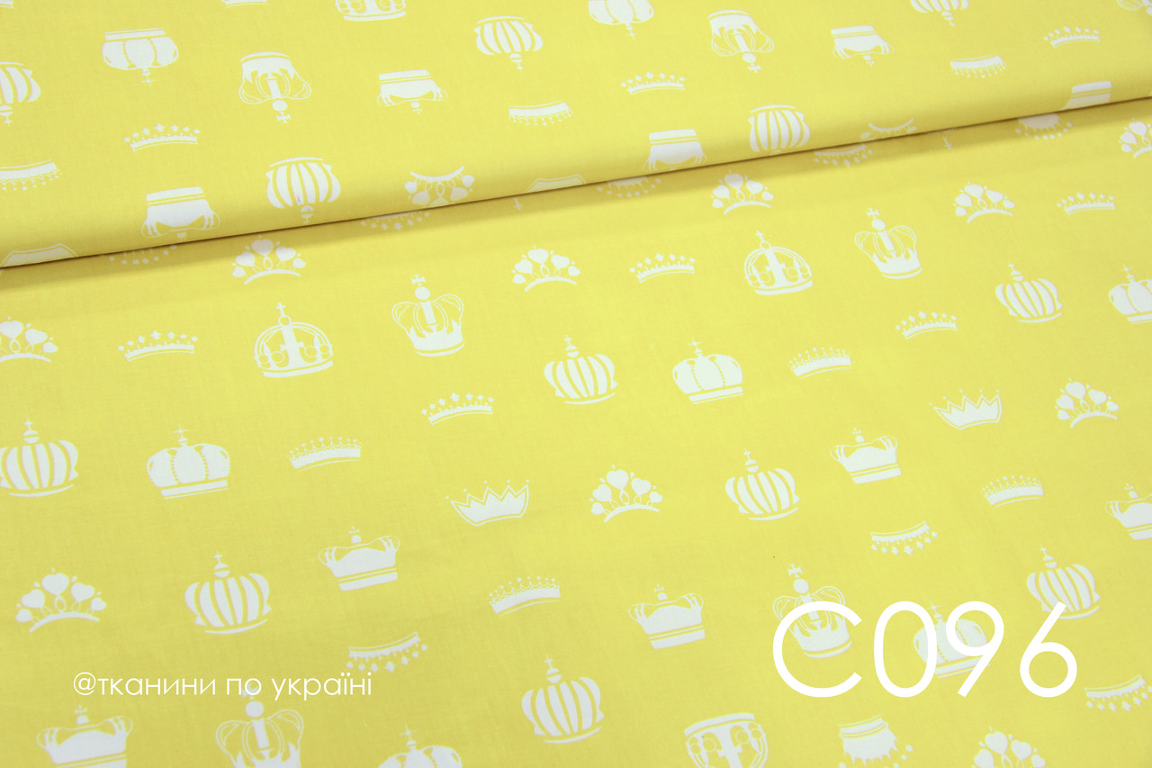 Ткань сатин Короны на желтом