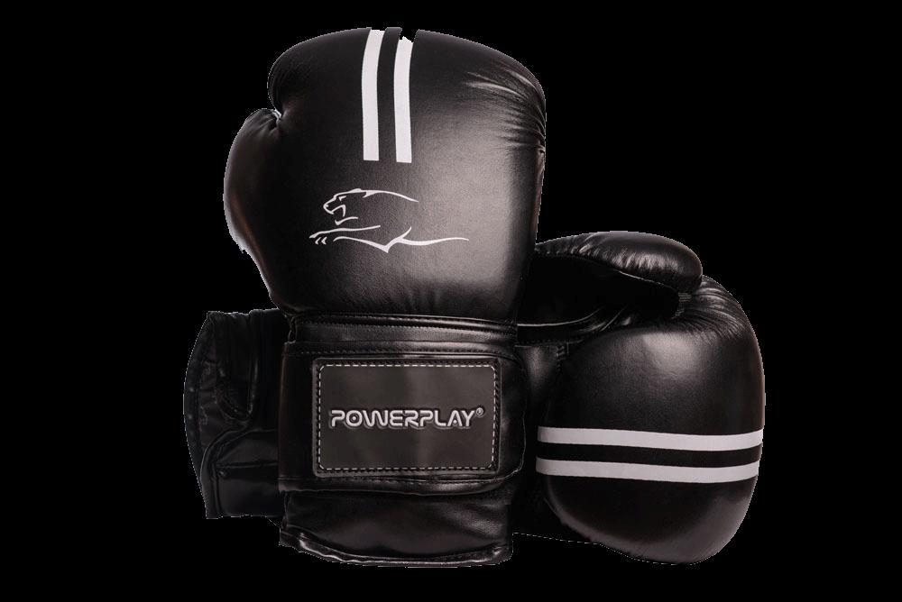 Боксерские перчатки PowerPlay 3016 черно-белые 14 унций