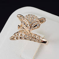 """Благолепное кольцо """"Лисичка"""" с кристаллами Swarovski, покрытие золото 0495, фото 1"""
