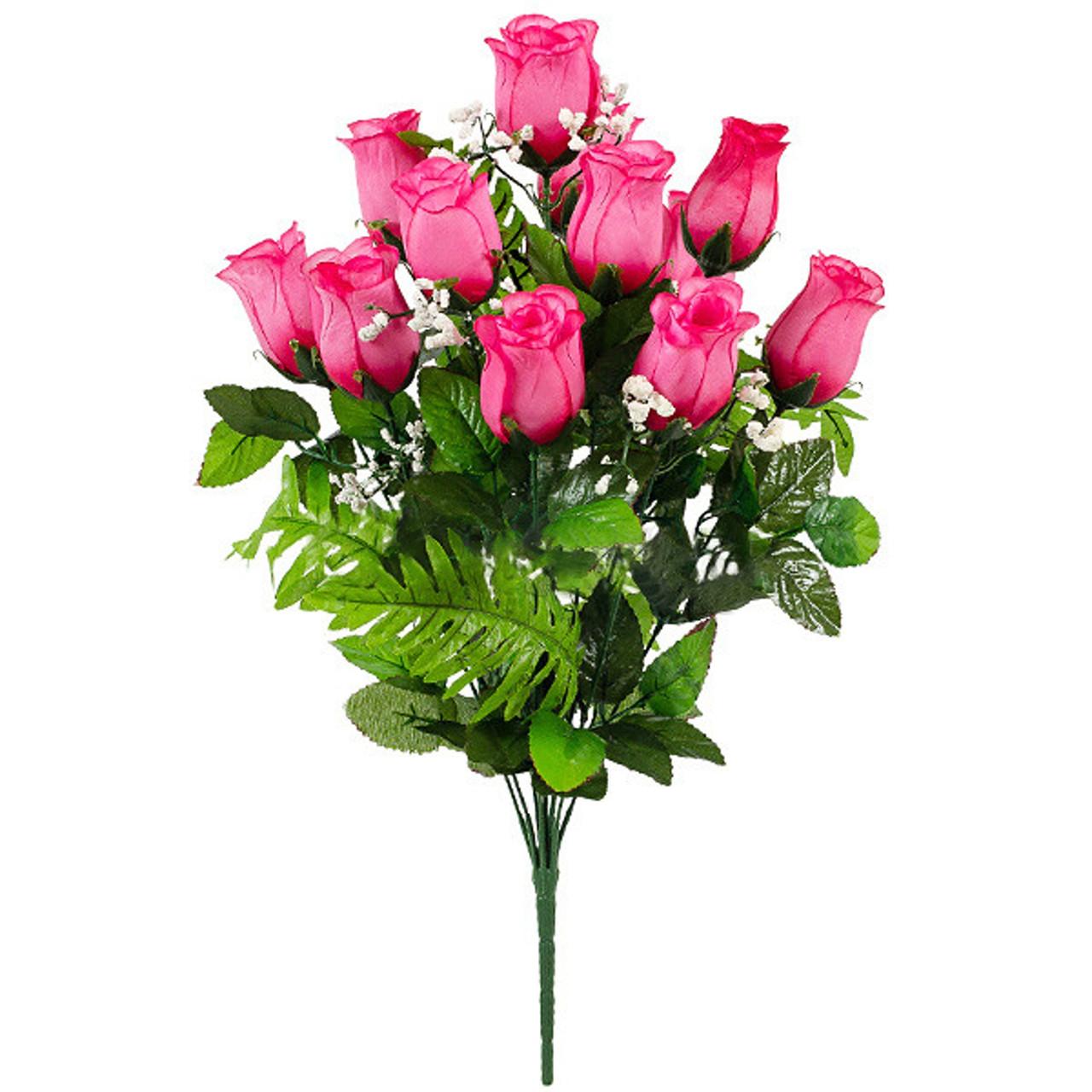 Букет искусственные бутоны роз с папоротником, 51см