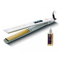 Утюжок для волос GA.MA ELEGANCE DIGITAL, белый, GI0201, в комплекте аргановое масло