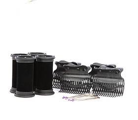 Электробигуди Diva, черные, D421, бигуди+шпильки+зажимы, 25 mm