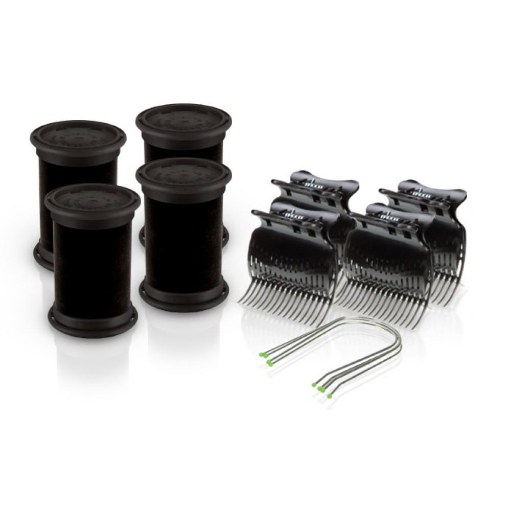 Электробигуди Diva, черные, D423, бигуди+шпильки+зажимы, 38 mm