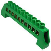 Клеммник П-образный (шина нулевая) в изоляции зеленый 10 отверстий