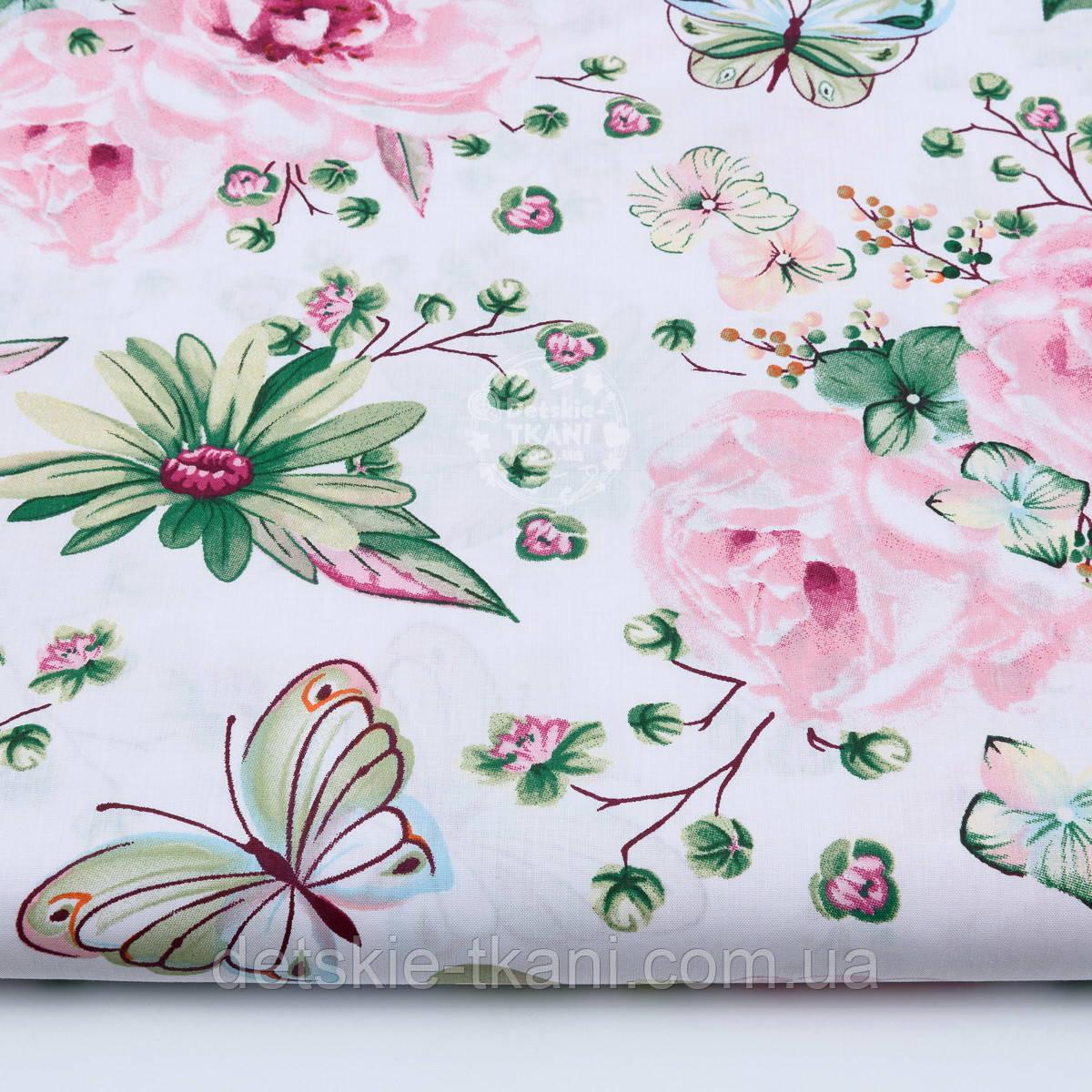 """Ткань хлопковая """"Большие розовые розы и бабочки"""" на белом (№1821а)"""