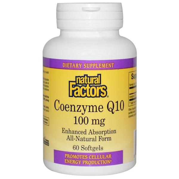 Коэнзим Q10 витамины для сердца Natural Factors, Coenzyme Q10, 100 mg, 60 капсул