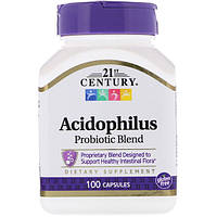 Ацидофилин (Ацидофилус) пробиотик, 21st Century, 100 капсул