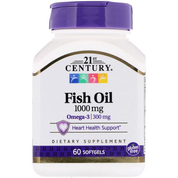 Омега-3 Рыбий жир для сердца,  21st Century health care, 1000 мг, 60 капсул