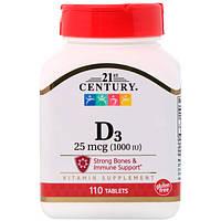 Вітамін Д3, 21st Century Health Care, D-1000, D3, посилений склад, 110 таблеток