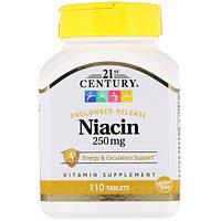 Витамин В3 Ниацин, 21st Century Health Care, 250 мкг, 110 таблеток
