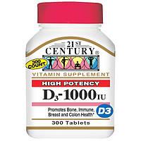 Вітамін Д3, 21st Century Health Care, 1000 МО, 300 таблеток