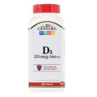 Витамин Д3, 21st Century Health Care, 5000 МЕ, 360 таблеток