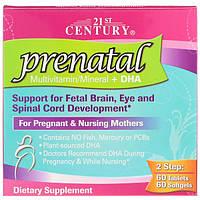 Пренатальні полівітаміни та мінерали для вагітних з ДГК, 21st Century, 2 пляшки в комплекті, 60 табл/60 кап