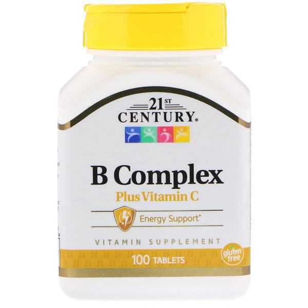 Комплекс В с витамином С, 21st Century Health Care,100 табл.