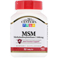 Метилсульфонилметан, МСМ-1000, 21st Century Health Care, 90 таб.