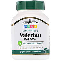 Валерианка в таблетках экстракт валерианы успокоительное, 21st Century Health Care, 60 капсул