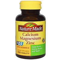 Кальций Магний Цинк, 100 таблеток, Nature Made