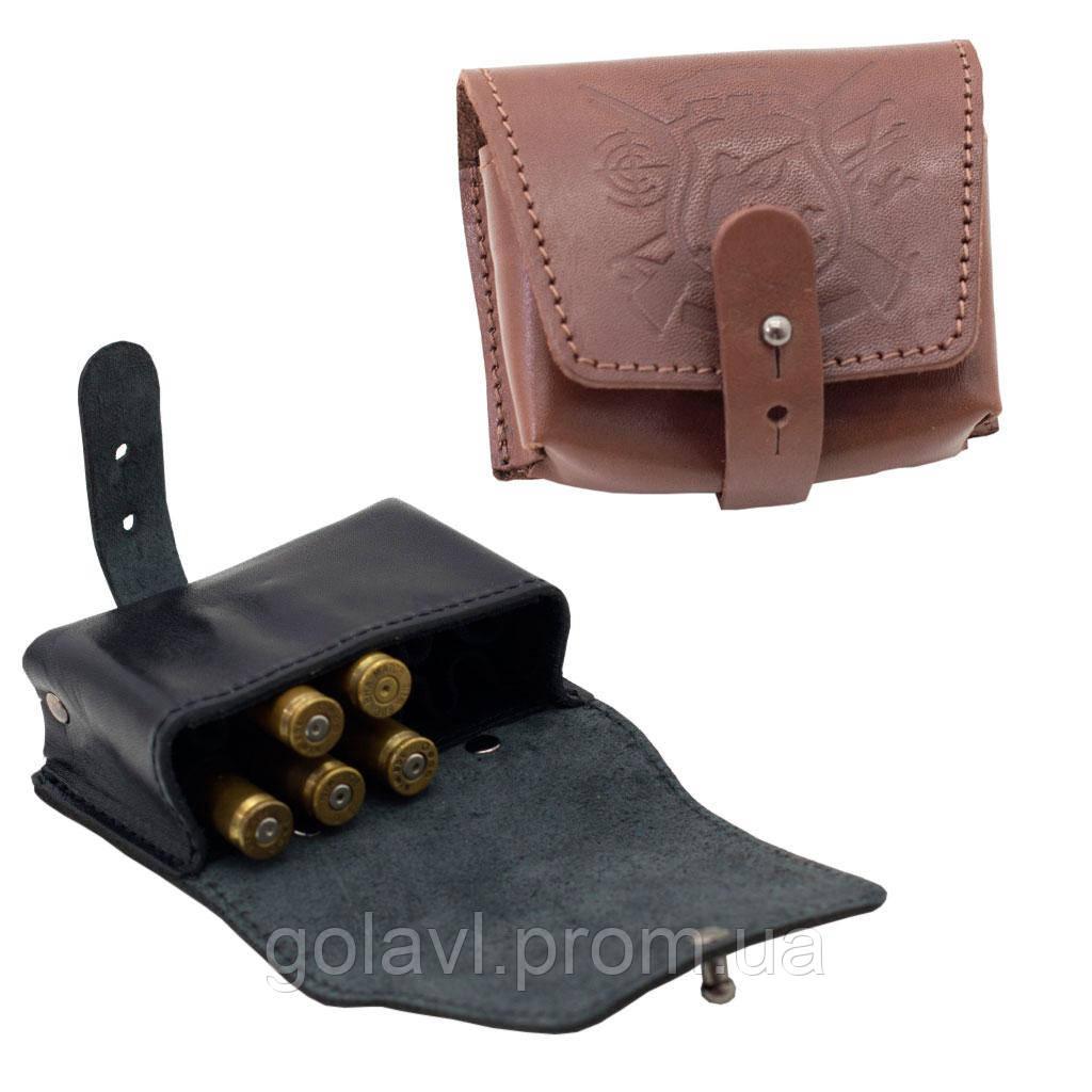 Подсумок на 10 нарезных патронов кожаный, тиснение охотник