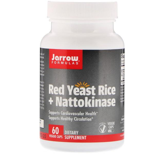 Наттокиназа и красный рис, Jarrow Formulas, 60 капсул
