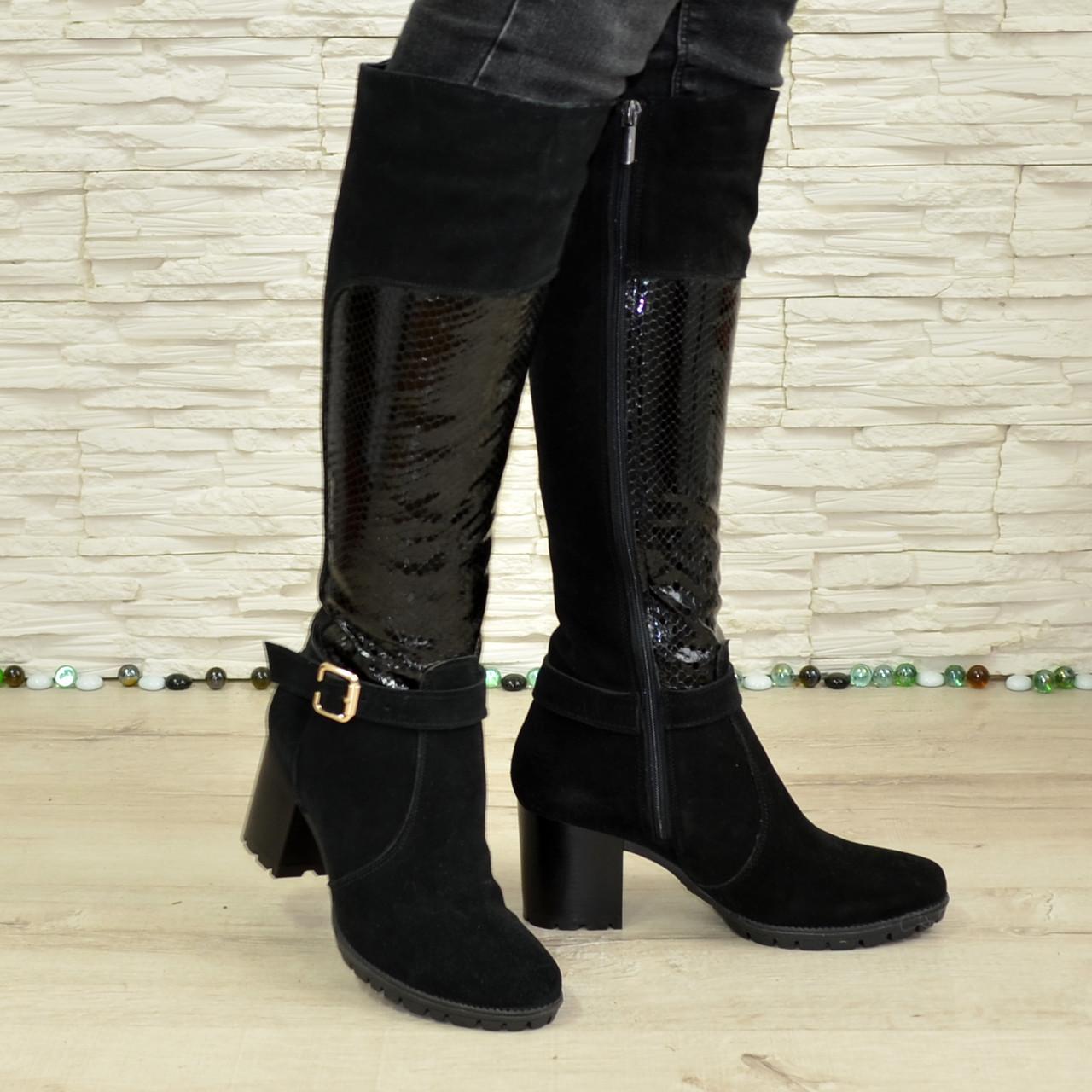 3628676ea Женские зимние черные замшевые сапоги на устойчивом каблуке, декорированы  ремешками. В наличии 37 размер