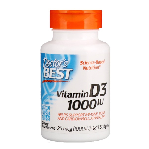 Витамин Д3, Doctor's Best, 1000 МЕ, 180 капсул