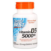 Витамин Д3, Doctor's Best, 5000 МЕ, 180 капсул