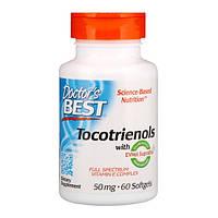 Витамин Е и Токотриенолы, Doctor's Best, 50 мг, 60 капсул