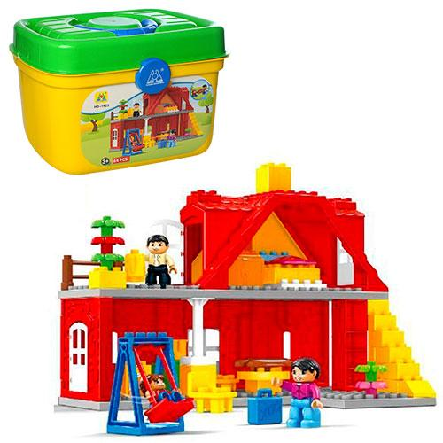 Конструктор аналог Lego Duplo дом с мебелью и качелями