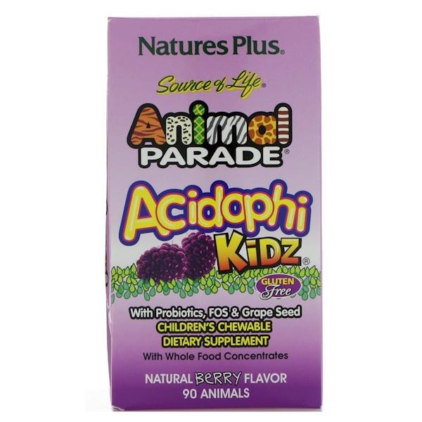 Ацидофілус дитячий, nature's Plus, Animal Parade, 90 жувальних цукерок