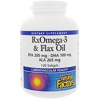 Рыбий жир и масло льна, омега-3-6, Natural Factors, 120   желатиновых капсул