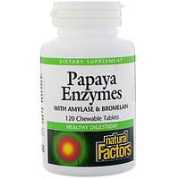 Энзимы папайи для пищеварения, жевательные, Natural Factors, 120 таблеток