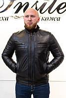 Зима Мужская Дубленка С Черным Мехом 028ТДМ