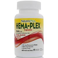 Препарат для поднятия гемоглобина Nature's Plus Hema-Plex, 60 капсул