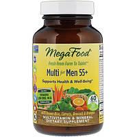 Витамины для мужчин, Mega Food, без железа, 55+, 60 таблетки